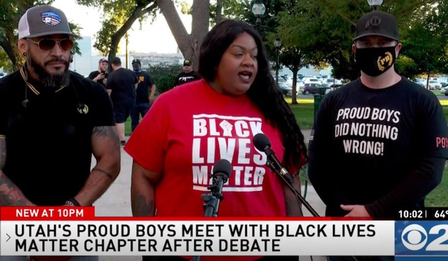 "Local leaders of the right-wing Proud Boys group in Salt Lake City, Utah, held a joint news conference with a local Black Lives Matter leader on Wednesday, Sept. 30, 2020, to correct the record and ""denounce White supremacy"" after President Trump mentioned them during Tuesday's first presidential debate. (Screengrab via KUTV)"