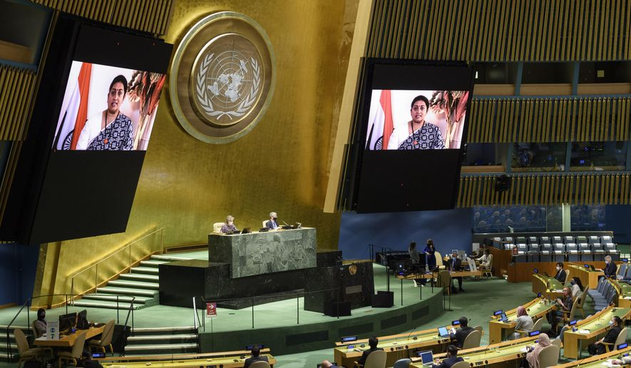 In this photo provided by the United Nations, Smriti Irani, India's Minister for Women and Child Development, speaks in the U.N. General Assembly Thursday, Oct. 1, 2020, in New York. (Loey Felipe/UN Photo via AP)