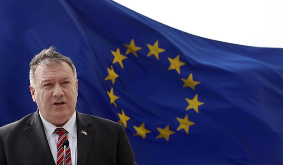 U.S. Secretary of State Mike Pompeo speaks during a joint press conference with Croatia's Prime Minister Andrej Plenkovic in Dubrovnik, Croatia, Friday, Oct. 2, 2020. Pompeo is in Croatia as part of his six-day trip to Southern Europe. (AP Photo/Darko Bandic, Pool)
