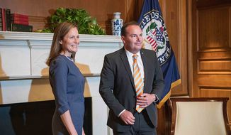Sen. Mike Lee, Utah Republican, meets with Judge Amy Coney Barrett, a Supreme Court nominee, at Capitol Hill on Sept. 29, 2020. (Image: https://www.lee.senate.gov/public/index.cfm/press-releases?ID=00F4FFC0-6EB2-4500-9D90-EE97AB44641B)
