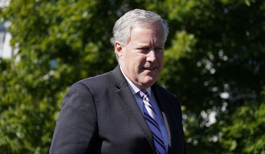 White House Chief of Staff Mark Meadows speaks with reporters at the White House, Friday, Oct. 2, 2020, in Washington. (AP Photo/Alex Brandon)
