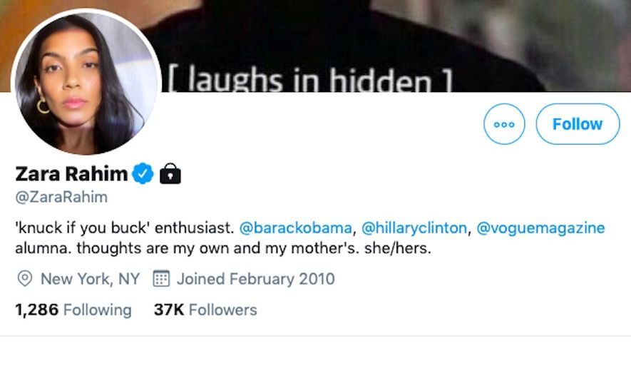 Zara Rahim, a former top campaign staffer to both Hillary Clinton and former President Barack Obama, is facing fierce backlash for a tweet wishing death to President Trump, who revealed just hours earlier that he and first lady Melania Trump had tested positive for the coronavirus. (Screengrab via Twitter/@ZaraRahim)