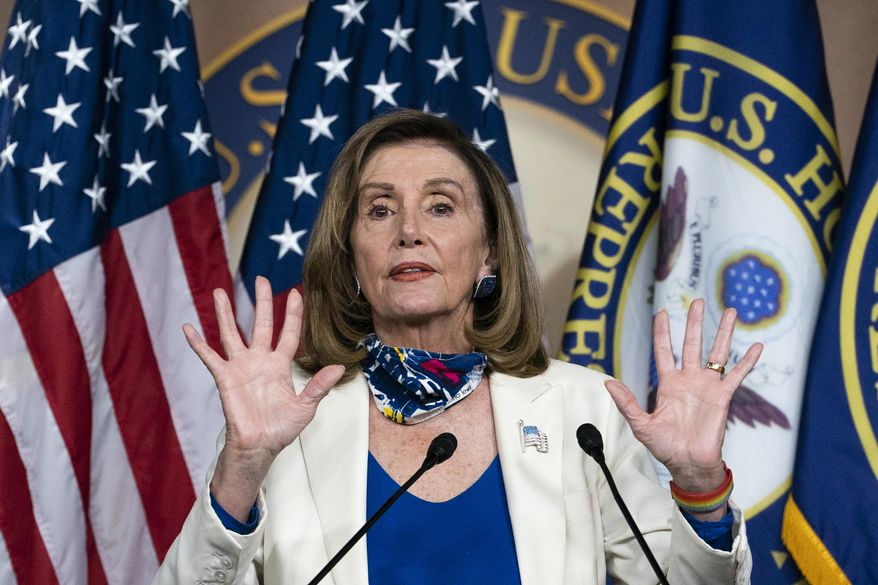House Speaker Nancy Pelosi of Calif., speaks during a weekly news conference, Thursday, Oct. 1, 2020, on Capitol Hill in Washington. (AP Photo/Jacquelyn Martin)