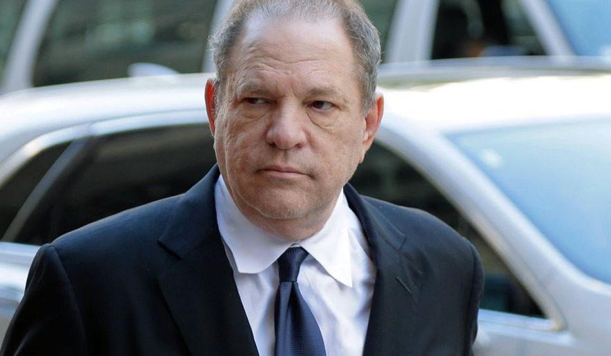 FILE - In this July 9, 2018 file photo, Harvey Weinstein arrives to court in New York. Prosecutors say Weinstein has been charged with the rape of two more women in Los Angeles County. The district attorney's office said Friday that Weinstein faces three new counts of rape and three new counts of forcible oral copulation involving two women. The incidents span from 2004 to 2010 and all took place at a hotel in Beverly Hills. (AP Photo/Seth Wenig, File)