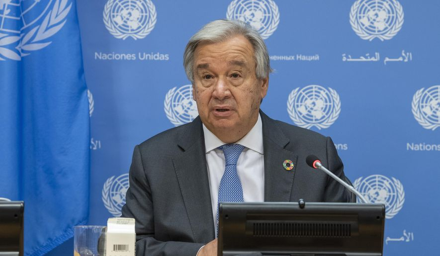 In this photo provided by the United Nations, Secretary-General Antonio Guterres briefs reporters during the 75th session of the United Nations General Assembly, Tuesday, Sept. 29, 2020, at U.N. headquarters in New York. (Rick Bajornas/UN Photo via AP) ** FILE **