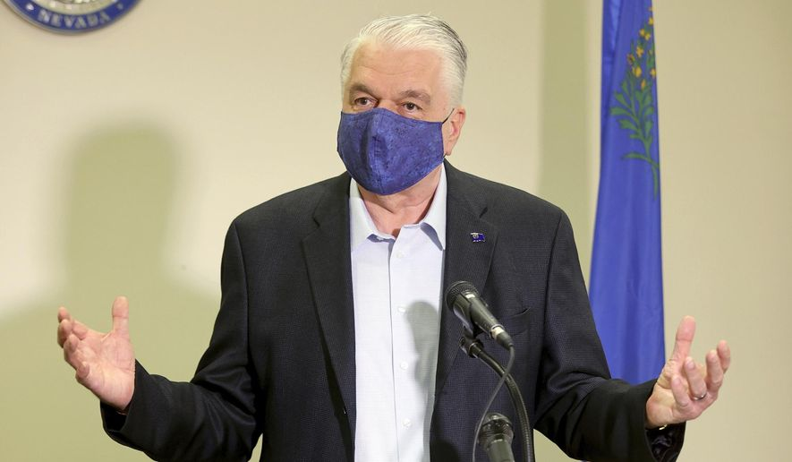 Nevada Gov. Steve Sisolak updates the state's COVID-19 response efforts and lifting of restrictions on youth and adult recreation sports during a news conference at the Sawyer Building in Las Vegas, Friday, Oct. 2, 2020. (K.M. Cannon/Las Vegas Review-Journal via AP, Pool) ** FILE **