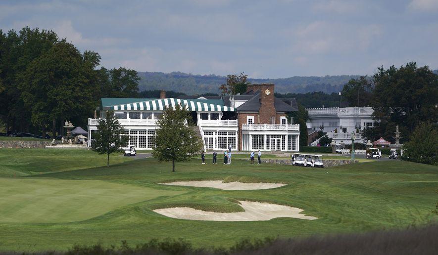 Golfers play golf at Trump National Golf Club in Bedminster, N.J., Friday, Oct. 2, 2020. (AP Photo/Seth Wenig) **FILE**