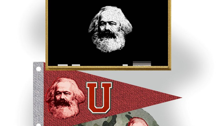 Illustration on Marxist indoctrination by Alexander Hunter/The Washington Times