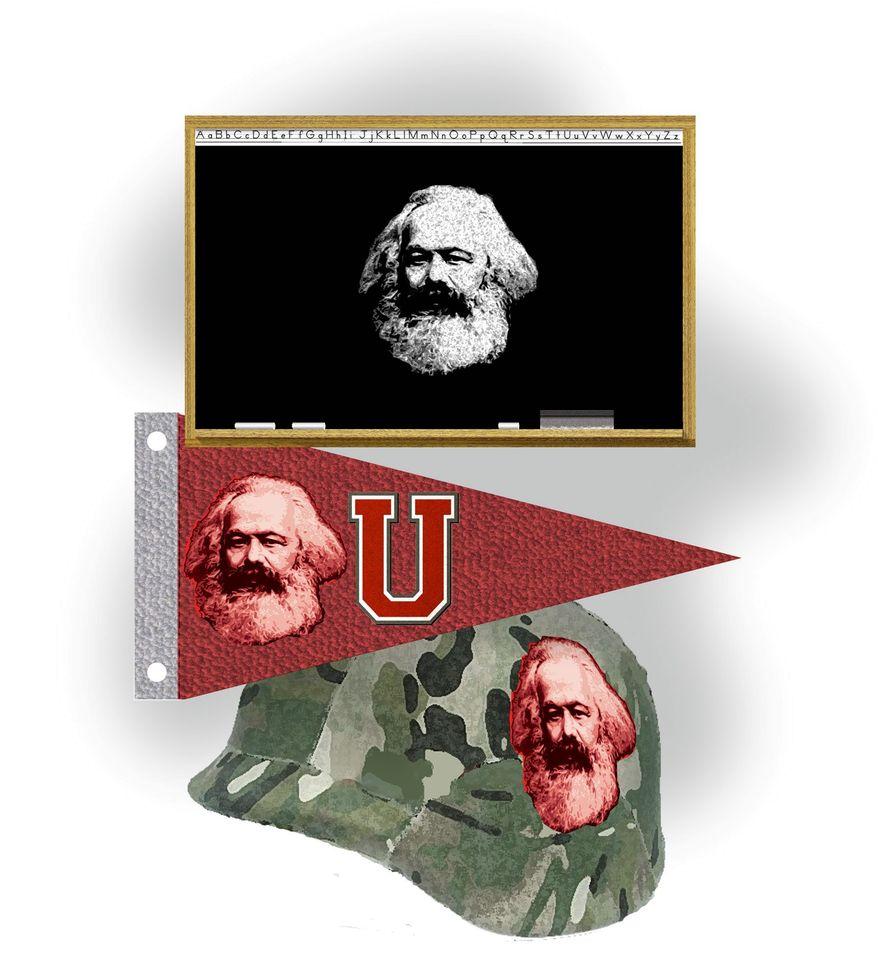 Illustration on Marxist indoctrination by Alexander Hunter/The Washington Times