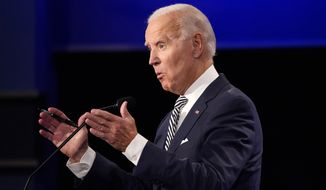 Former Vice President Joe Biden speaks during the first presidential debate Tuesday, Sept. 29, 2020, at Case Western University and Cleveland Clinic, in Cleveland, Ohio. (AP Photo/Julio Cortez)