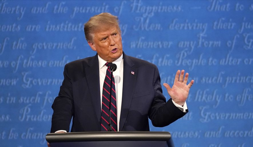 President Donald Trump speaks during the first presidential debate Tuesday, Sept. 29, 2020, at Case Western University and Cleveland Clinic, in Cleveland, Ohio. (AP Photo/Julio Cortez) ** FILE **