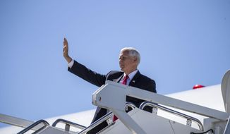 Vice President Mike Pence arrives at Dobbins Air Reserve Base in Marietta, Ga., Wednesday, Sept. 30, 2020. (Alyssa Pointer/Atlanta Journal-Constitution via AP)