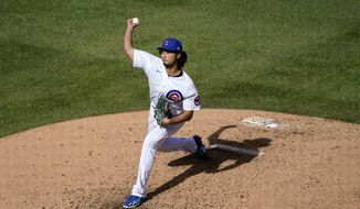 Chicago Cubs starting pitcher Yu Darvish throws during the fifth inning in Game 2 of a National League wild-card baseball series against the Miami Marlins Friday, Oct. 2, 2020, in Chicago. (AP Photo/Nam Y. Huh) **FILE**