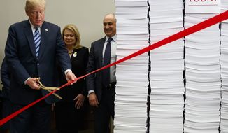 """President Donald Trump cuts a ribbon during an event on federal regulations in the Roosevelt Room of the White House, Thursday, Dec. 14, 2017, in Washington. """"Let's cut the red tape, let's set free our dreams,"""" Trump said as he symbolically cut a ribbon on stacks of paper representing the size of the regulatory code. (AP Photo/Evan Vucci) ** FILE **"""