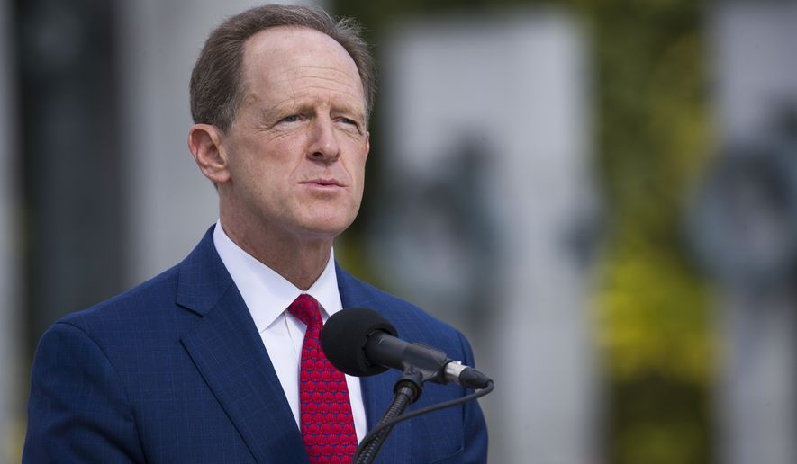 Sen. Pat Toomey, R-Pa., speaks during a ceremony Wednesday, Sept. 18, 2019, in Washington. Toomey will not seek reelection in 2022, according to a person with direct knowledge of Toomey's plans, Sunday, Oct. 4, 2020. (AP Photo/Alex Brandon)