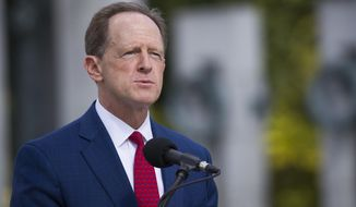 Sen. Pat Toomey, R-Pa., speaks during a ceremony Wednesday, Sept. 18, 2019, in Washington. Toomey will not seek re-election in 2022, according to a person with direct knowledge of Toomey's plans, Sunday, Oct. 4, 2020. (AP Photo/Alex Brandon)