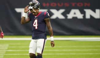 Houston Texans quarterback Deshaun Watson (4) walks off of the field during the first half of an NFL football game against the Minnesota Vikings, Sunday, Oct. 4, 2020, in Houston. (AP Photo/David J. Phillip)