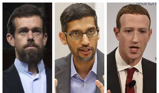 This combination of 2018-2020 photos shows, from left, Twitter CEO Jack Dorsey, Google CEO Sundar Pichai, and Facebook CEO Mark Zuckerberg. (AP Photo/Jose Luis Magana, LM Otero, Jens Meyer) ** FILE **