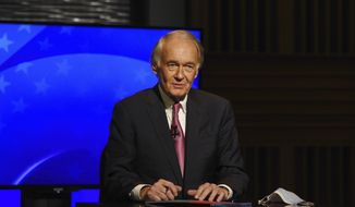 Democratic incumbent U.S. Sen. Edward Markey appears in a debate against Republican challenger Kevin O'Connor, Monday, Oct. 5, 2020, at the GBH Studios in Boston. Due to the coronavirus, Markey and O'Connor debated from separate rooms at the GBH Studios. (Meredith Nierman/Pool Photo via AP)