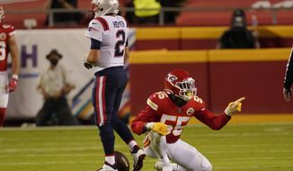 Kansas City Chiefs defensive end Frank Clark (55) celebrates after sacking New England Patriots quarterback Brian Hoyer (2) during the first half of an NFL football game, Monday, Oct. 5, 2020, in Kansas City. (AP Photo/Charlie Riedel)  **FILE**