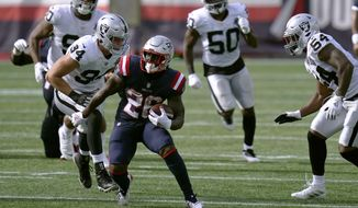 New England Patriots running back Sony Michel (26) runs against the Las Vegas Raiders in the second half of an NFL football game, Sunday, Sept. 27, 2020, in Foxborough, Mass. (AP Photo/Charles Krupa)