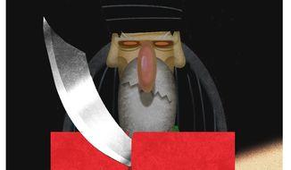 Illustration on Iranian aggression toward Yemen by Alexander Hunter/The Washington Times