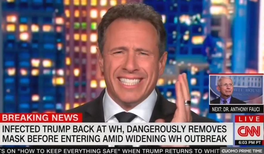 """CNN's Chris Cuomo tells viewers that he is glad he no longer needs to """"feign"""" concern for President Trump now that he has recovered from the coronavirus and took a mask off at the White House, Oct. 5, 2020. (Image: CNN video screenshot)"""