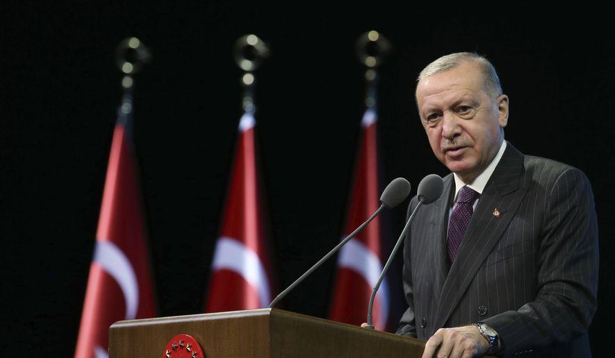 Turkey's President Recep Tayyip Erdogan talks during an event in Ankara, Turkey, Tuesday, Oct. 6, 2020. (Turkish Presidency via AP, Pool)