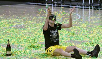 Seattle Storm forward Breanna Stewart celebrates after the team won basketball's WNBA Championship Tuesday, Oct. 6, 2020, in Bradenton, Fla. (AP Photo/Chris O'Meara)  **FILE**