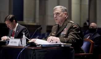 Joint Chiefs of Staff Gen. Mark Milley testifies during a House Armed Services Committee hearing on Thursday, July 9, 2020, on Capitol Hill in Washington. (Greg Nash/Pool via AP) ** FILE **