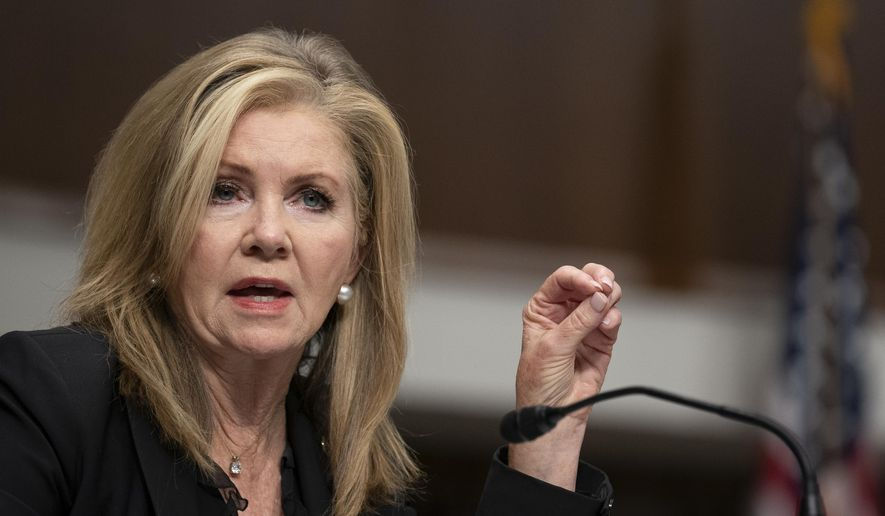 "In this file photo, Sen. Marsha Blackburn, R-Tenn., speaks during a Senate Judiciary Committee hearing on Capitol Hill in Washington, Wednesday, Sept. 30, 2020, to examine the FBI ""Crossfire Hurricane"" investigation. (Stefani Reynolds/Pool via AP)  **FILE**"