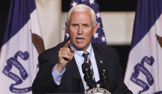 Vice President Mike Pence speaks during a Make America Great Again event in Carter Lake, Iowa, Thursday, Oct. 1, 2020. (AP Photo/Nati Harnik)