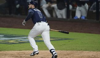 Tampa Bay Rays' Austin Meadows watches his ball after he hit a solo home run against the New York Yankees during the sixth inning in Game 2 of a baseball American League Division Series Tuesday, Oct. 6, 2020, in San Diego. (AP Photo/Jae C. Hong)
