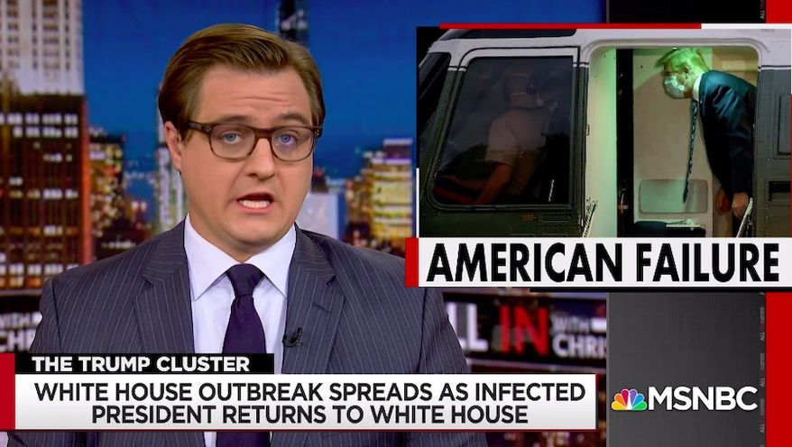 """MSNBC host Chris Hayes tore into President Trump during his opening monologue Tuesday night, calling his """"recklessness"""" regarding the coronavirus so egregious that can only be described as """"evil."""" (Screengrab via MSNBC)"""