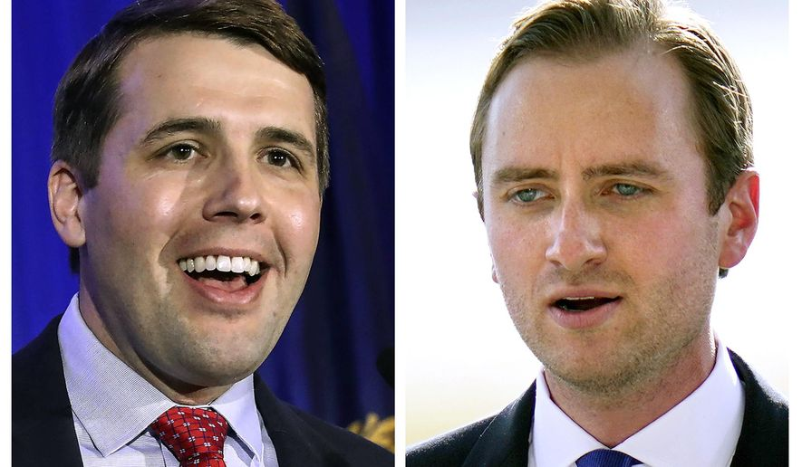 FILE - This photo combo shows incumbent U.S. Rep Chris Pappas, D-NH, left, and Republican challenger Matt Mower, right, candidates in New Hampshire's 1st Congressional District in Nov. 3, 2020, general election. (AP Photos, file)