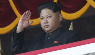 In this Oct. 25, 2015, file photo, North Korean leader Kim Jong-un gestures as he watches a military parade during celebrations to mark the 70th anniversary of North Korea's Workers' Party in Pyongyang, North Korea. For months, North Korea has been relatively uncombative, as Kim grapples with the coronavirus pandemic, a string of natural disasters and the deepening economic pain from years of tough U.S.-led sanctions. (AP Photo/Wong Maye-E, File)
