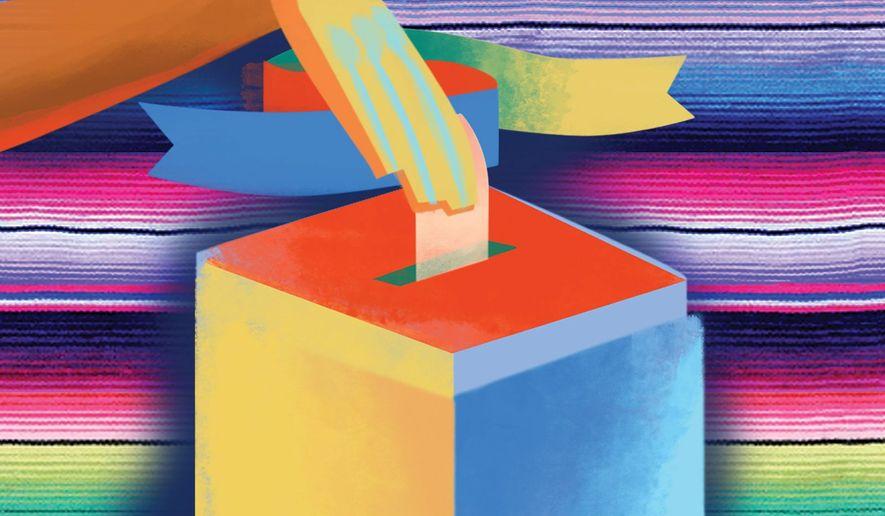 Illustration on predicting the Hispanic vote by Linas Garsys/The Washington Times