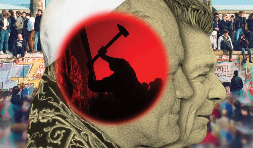 Pope John Paul II and Ronald Reagan stop communism illustration by The Washington Times