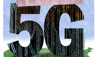 Illustration on nationalizing 5G development by Alexander Hunter/The Washington Times