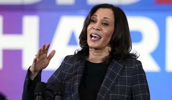 Democratic vice presidential candidate Sen. Kamala Harris, D-Calif., speaks at the Carpenters Local Union 1912 in Phoenix, Thursday, Oct. 8, 2020, to kick off a small business bus tour. (AP Photo/Carolyn Kaster)