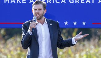 Eric Trump, the son of President Donald Trump, speaks at a campaign rally for his father in Monroe, N.C., Thursday, Oct. 8, 2020. (AP Photo/Nell Redmond)