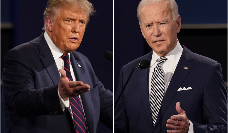 This combination of Sept. 29, 2020, photos shows President Donald Trump, left, and former Vice President Joe Biden during the first presidential debate at Case Western University and Cleveland Clinic, in Cleveland, Ohio. The Commission on Presidential Debates says the second Trump-Biden debate will be 'virtual' amid concerns about the president's COVID-19. (AP Photo/Patrick Semansky)