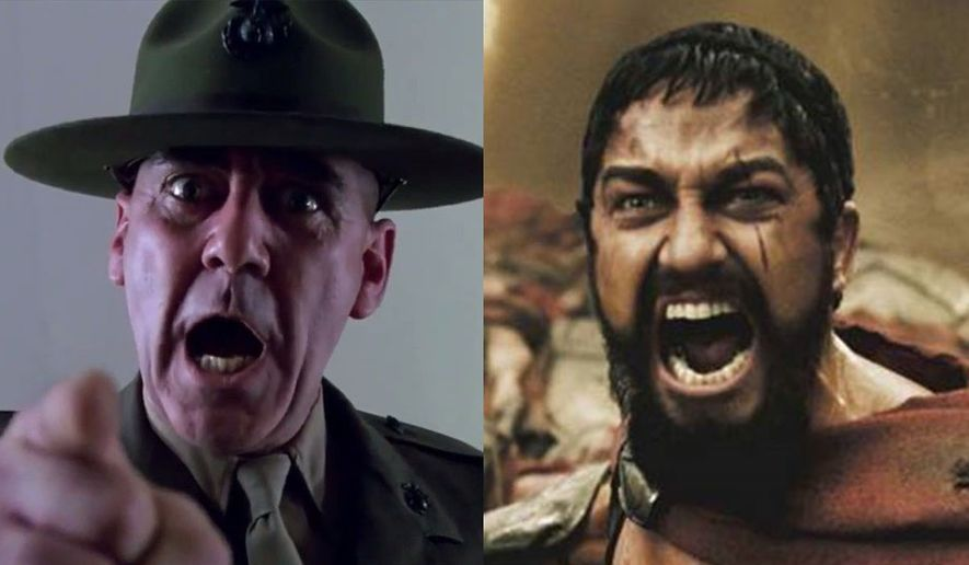 """Gunnery Sgt. Hartman (R. Lee Ermey) in """"Full Metal Jacket"""" and King Leonidas of Sparta (Gerard Butler) in """"300, now available in 4K Ultra HD from Warner Bros. Home Entertainment."""
