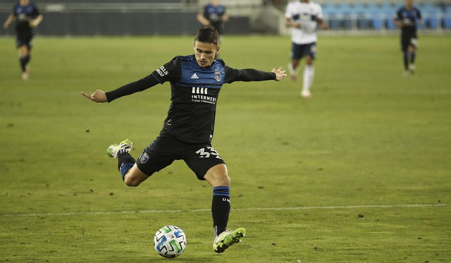 San Jose Earthquakes' Paul Marie kicks a goal against the Vancouver Whitecaps during the second half of an MLS soccer match Wednesday, Oct. 7, 2020, in San Jose, Calif. (AP Photo/Josie Lepe)