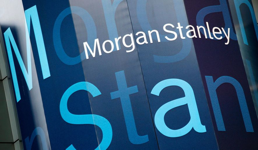 In this Tuesday, Oct. 18, 2011, photo, the Morgan Stanley logo is displayed on its Times Square building, in New York. (AP Photo/Mark Lennihan) **FILE**