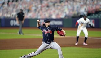 Atlanta Braves starting pitcher Kyle Wright throws during the second inning in Game 3 of a baseball National League Division Series against the Miami Marlins, Thursday, Oct. 8, 2020, in Houston. (AP Photo/David J. Phillip)