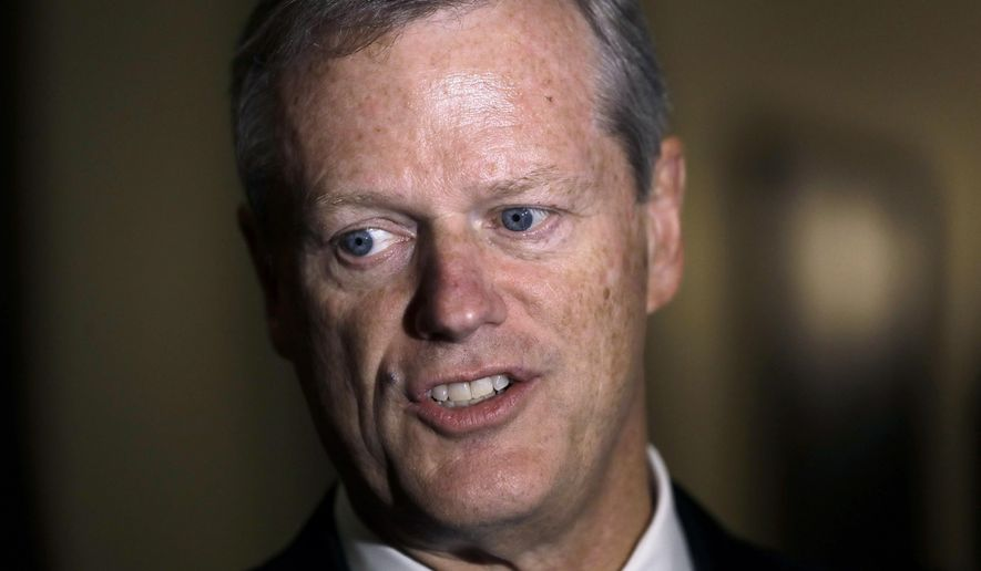 In this Monday, Sept. 16, 2019 file photo Massachusetts Gov. Charlie Baker speaks with reporters at the Statehouse, in Boston. The National Bobblehead Hall of Fame and Museum in Milwaukee on Thursday, Oct. 8, 2020 said they are taking preorders for Baker bobblehead dolls, and said $5 from the $25 cost of each one will be donated to the Protect The Heroes fund's 100 Million Mask Challenge that pays for protective equipment for health care workers nationwide. (AP Photo/Steven Senne, File)
