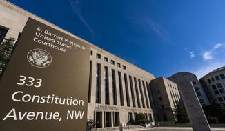 The E. Barrett Prettyman United States Court House is seen, Friday, Oct. 9, 2020, in Washington, D.C. The building houses the U.S. Circuit Court of Appeals for the District of Columbia. (AP Photo/Manuel Balce Ceneta)  **FILE**