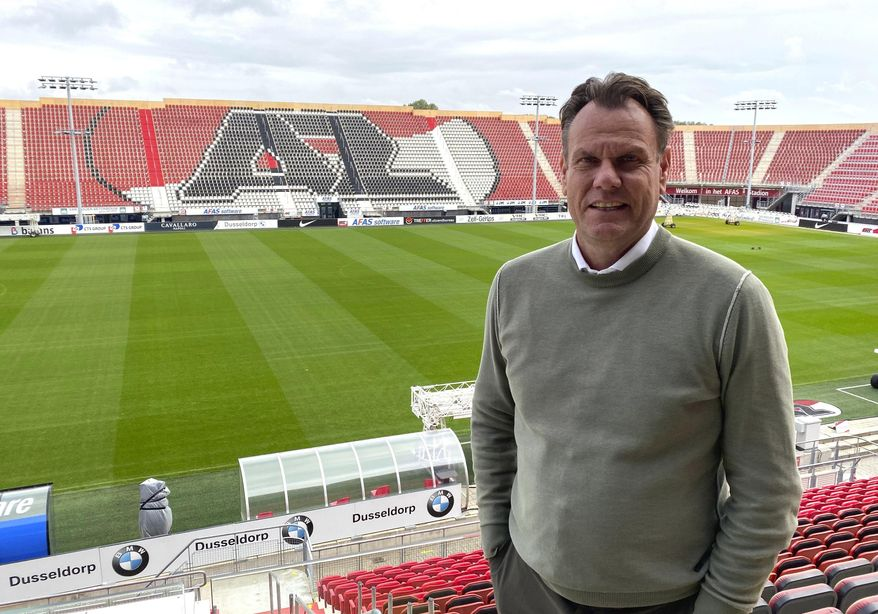 Robert Eenhoorn, CEO of soccer club AZ Alkmaar, stands inside AFAS Stadium in Alkmaar, the Netherlands, Sept. 30, 2020. Despite a small budget, Dutch soccer club AZ Alkmaar has a knack for identifying and developing young talent and then selling them for big profits, all while competing with top teams like Ajax. (AP Photo/Ken Maguire)