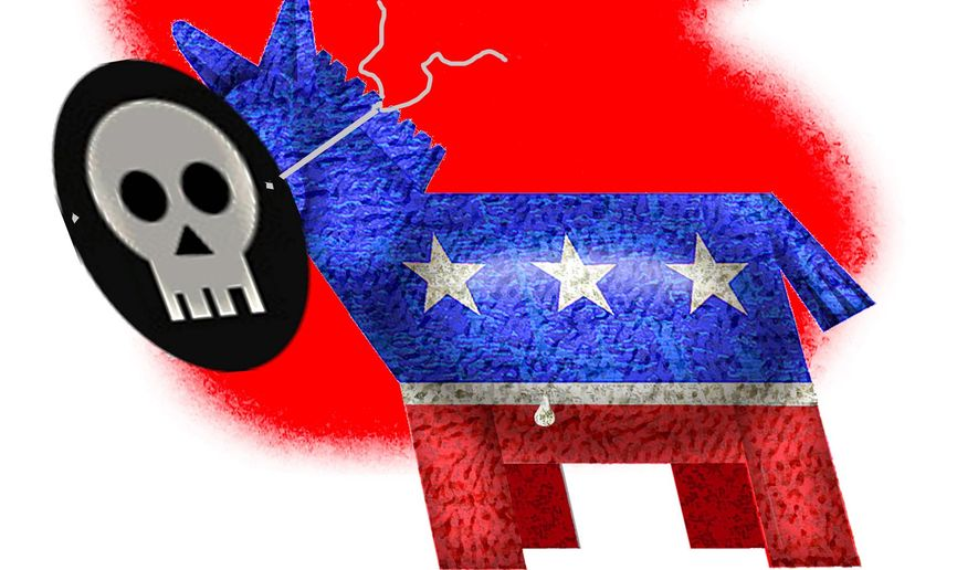 Illustration on the Democratic Party by Alexander Hunter/The Washington Times
